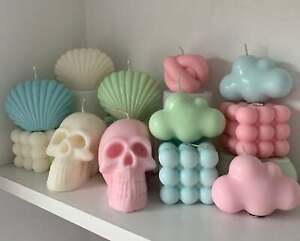 Unscented Pastel Vegetable Wax Candles - Bubble, Cloud, Knot, Skull and Shell