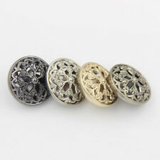 5PCS New Metal Hollow Out Flower Shank Buttons Coat Sewing Craft DIY 18 22 25MM
