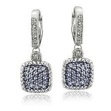 925 Silver 1.7ct Blue & White Topaz Square Rope Leverback Earrings