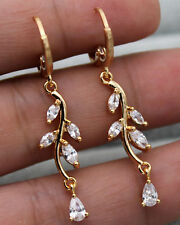 "18K Yellow Gold Filled - 1.6"" Waterdrop Leaf Topaz Zircon Women Party Earrings"