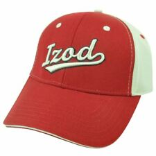 Izod Clothes Brand Name Classic Logo Sun Buckle Adjustable Red Beige Hat Cap