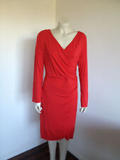 Domani Red Long Sleeve Wrap Career Dress Size 18 *NWT*