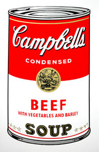 ANDY WARHOL Pop Art - Sunday B Morning - Campbell's Soup Can Beef + COA