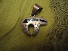 Sterling SIlver Bear Fetish Pendant with Turquoise and Onyx Inlay