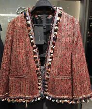 STUNNING ZARA RED TWEED OPEN FRONT JACKET WITH POMPOM DETAILS SIZE S UK 8
