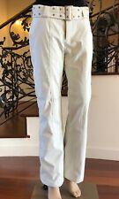 New! Women's MARKER Off White Wide Belt Fancy Snow Pants Size 4 Small