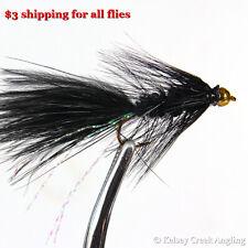 1 Dozen (12) Beadhead Black Wooly Bugger - fishing fly, streamer, trout fly