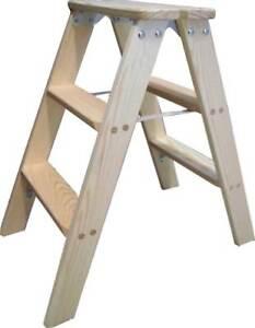 Doppelstufenleiter 2x 3-10 Stufen Holz Deko Holzleiter Stufenleiter Tritt Bock