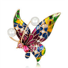 Fashion Cute Pink Waterdrop Crystal Enamel Butterfly Brooch Pin Women Jewelry