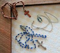 Vtg LOT of 3 Catholic ROSARY Crucifix WOOD MEDUGORJE Blue Prayer BEADS Religious