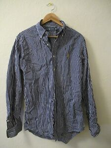 Mens Long Sleeve Striped Blue & White Ralph Lauren Shirt Size M Medium