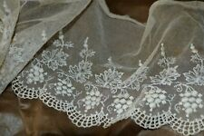 ANTIQUE VICTORIAN EMBROIDERED FINE NET LACE ROMANTIC ERA GRAPES AND LEAVES IVORY