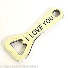 20 Tibetan Silver 28x11mm I Love You Botle Opener Charms