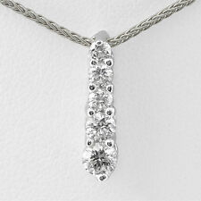"0.50 Ct Round Five Stone G VS2 Diamond Pendant 14k White Gold 16"" Wheat chain"