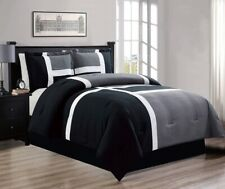 4 Pc KING Size Black, Grey, White Down Alt Patchwork Comforter Set Bedding