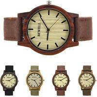 Fashion BEWELL Men Wood Watch Canvas Wood Band Waterproof Quartz Wristwatch