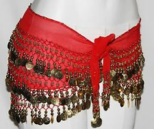 RED Belly Dance Dancing Gypsy Burlesque GOLD COIN HIP SCARF Shimmy Beaded BELT