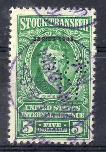 USA = $5.00 Stock Transfer Internal Revenue, Series 1943 Scott RD154 Used (a)