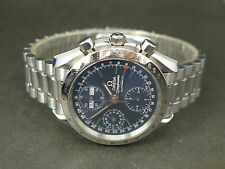SWISS Omega Speedmaster blue dial auto triple date chrono SS bracelet watch