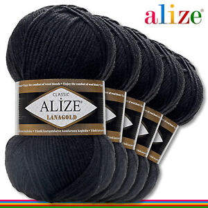 Alize 5x 100G Lanagold Premium Lana 49% Wolle-51% Acrílico Negro 60 Hecho Mano