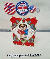 """❤💏Vintage Die Cut Valentine """"I'm awfully Brave about some things"""" Girl Boy Shy"""