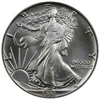 1991 $1 1 oz .999 Fine American Silver Eagle Uncirculated Coin SKU26334