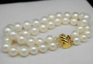 """2 Rows 9-10mm AAA+ white south sea pearl bracelet 7.5-8"""" 14K yellow clasp"""