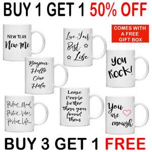 Motivational Quote Mugs 11oz Gift Mug Tea Coffee Personalised Bonjour Positive
