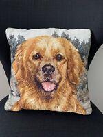 Vintage Needlepoint Golden Retriever Dog Decorative Pillow Velvet Backing 13x13