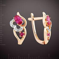 Gelbgold 585 kleine Ohrringe mit DIAMANTEN & RUBIN Neu  Glänzend.