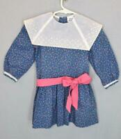VTG 80s Renee Michael Blue Floral White Collar Drop Waist Prairie Toddler Dress