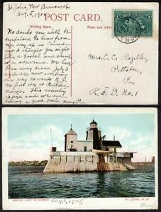 #96 1¢ Quebec Cent. August 5 1908 St. Johns Beacon Light Picture Post Card
