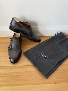 BERLUTI Mens Shoes size 6 New Genova Double Monk Scritto Nero Patina