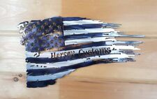 Tattered American Flag Personalized  Metal Art
