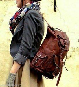 Vintage Backpack Genuine Leather Laptop  Rucksack Messenger Bag Satchel unisex