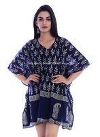Anokhi Kaftan Indigo Blue Tassels Block Print Short Length Maxi Gown Cotton