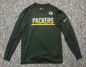 Green Bay Packers Nike Sideline Long Sleeve Dri-Fit Shirt Size Mens L