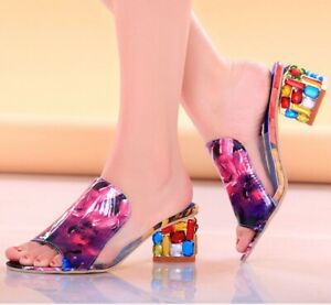 Women's Crystal Peep Toe Heels Slides Rainbow Sandals Shoe Sizes 8.5, 9.5,