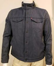 Levis Mens Trucker Jacket L Faux Denim Rain Gear Commuter Fleece Lined Warm Coat