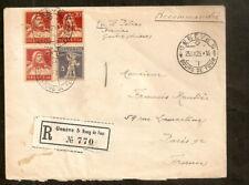 Suisse:Recommandé de Genève(Bourg de Four) pour Paris 1925,cachet de cire au dos