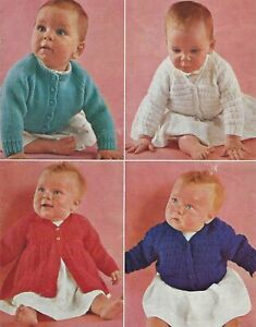 THREE DOUBLE KNIT BABY COATS CARDIGANS KNITTINFG PATTERN  18 TO 20 INCH (996)