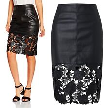 Ladies 8-14 Black Faux Leather Skirt Laser Cut Floral Detail RRP £120