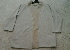Coldwater Creek Women Solid Beige Long Sleeve Cotton Blend Cardigan     Size XL