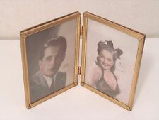 """VINTAGE BRASS FOLD PHOTO PICTURE FRAME 5"""" X 7"""" Perry Como Dorthy Lamour"""