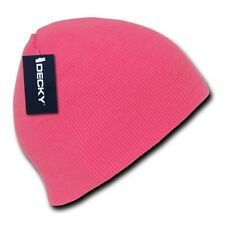Neon Pink Knit Short Beanie Hat Skull Snowboard Winter Warm Ski Cap Hats Beanies