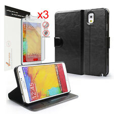 [NEW RELEASE] Samsung Galaxy Note III 3 N9000 Leather Case+3X Matte Screen Skins
