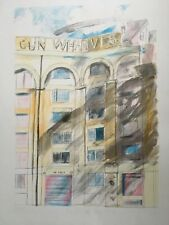 "CHLOE CHEESE b1952 Artists Proof LITHOGRAPH ""Gun Wharves, Wapping High St"""
