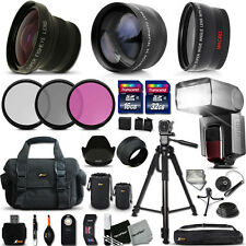 Xtech Kit for Canon EOS Kiss X50 Ultimate 37 Pc w/ Lenses +Memory +Flash +MORE!