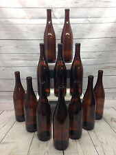 12 Brown Amber Flat Bottom 750ml Glass Beer Wine Bottles-Parties Bottletrees