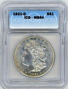1921-D ICG MS-64 MORGAN $ ~ SEMI P/L ~  ONE FABULOUS COIN ~ 1c START